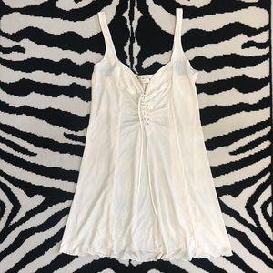 Vtg 90's Victoria's Secret Gold Label Baby Doll LaceUp Slip Slip-dress Ivory L